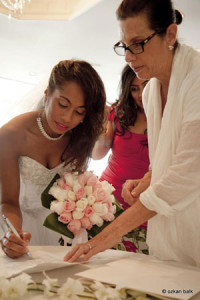 Signing marriage license. Friend marrying you?